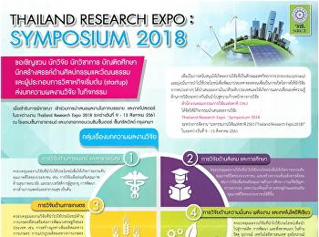 ขอเชิญส่งบทความผลงานวิจัย ในกิจกรรม Thailand Research Expo : Symposium 2018