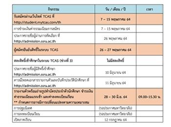 ปฏิทินการรับสมัครสอบคัดเลือกเข้าศึกษาในมหาวิทยาลัยราชภัฏสวนสุนันทา ภาคปกติ ระดับปริญญาตรีประจ าปีการศึกษา 2564 (รอบที่3 Admission 1)
