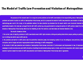 The Model of Traffic Law Prevention and Violation of Metropolitan Police Bureau