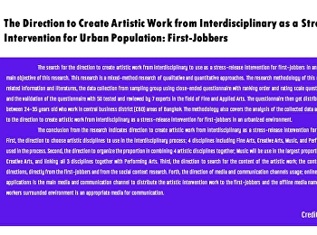 The Direction to Create Artistic Work from Interdisciplinary as a Stress-Release Intervention for Urban Population: First-Jobbers