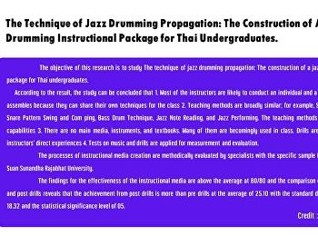 The Technique of Jazz Drumming Propagation: The Construction of A Jazz Drumming Instructional Package for Thai Undergraduates.