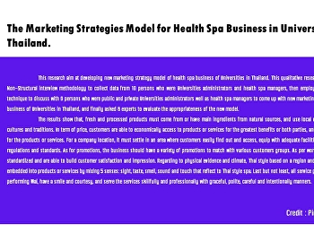 The Marketing Strategies Model for Health Spa Business in University of Thailand.