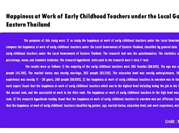 Happiness at Work of Early Childhood Teachers under the Local Government of Eastern Thailand