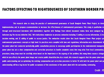 FACTORS EFFECTING TO RIGHTEOUSNESS OF SOUTHERN BORDER PROVINCES