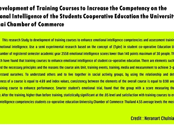 The Development of Training Courses to Increase the Competency on the Emotional Intelligence of the Students Cooperative Education the University of the Thai Chamber of Commerce