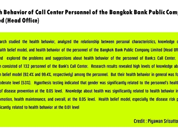Health Behavior of Call Center Personnel of the Bangkok Bank Public Company Limited (Head Office)