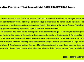 The Creative Process of Thai Dramatic Art SAKKARATEWARAT Dance
