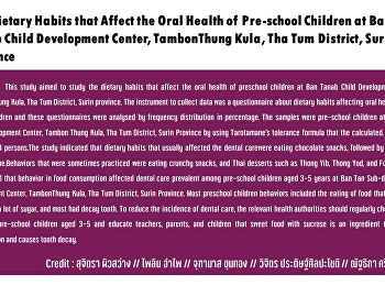 The Dietary Habits that Affect the Oral Health of Pre-school Children at Ban Tanab Child Development Center, TambonThung Kula, Tha Tum District, Surin province