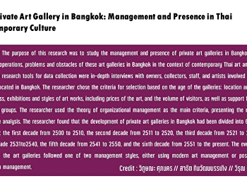 The Private Art Gallery in Bangkok: Management and Presence in Thai Contemporary Culture