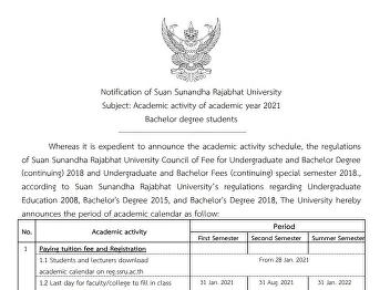 Notification of Suan Sunandha Rajabhat University Subject: Academic activity of academic year 2021 Bachelor degree students
